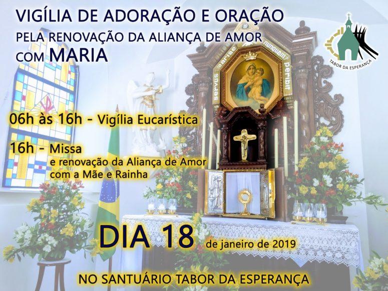Vigília de adoração e oração pela renovação da aliança de amor com Maria ocorre nesta sexta-feita